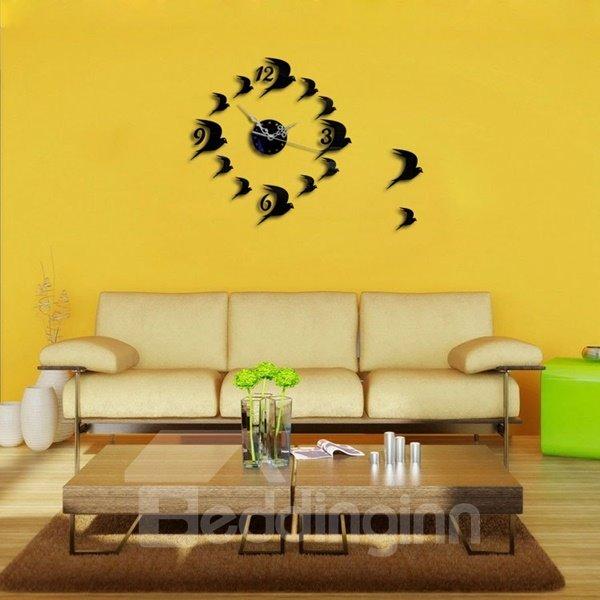 Leisurely Flying Birds Decoration Design Room Silent Wall Clock