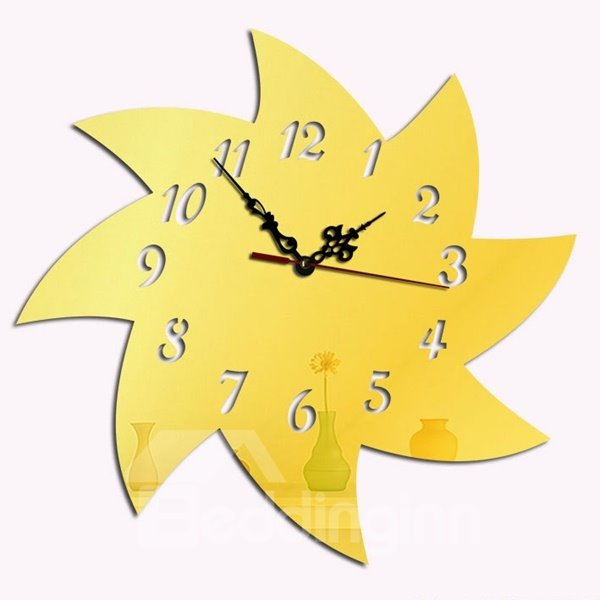 Simple Style Acrylic Windmill Pattern Design Digital Home Decorative Wall Clock
