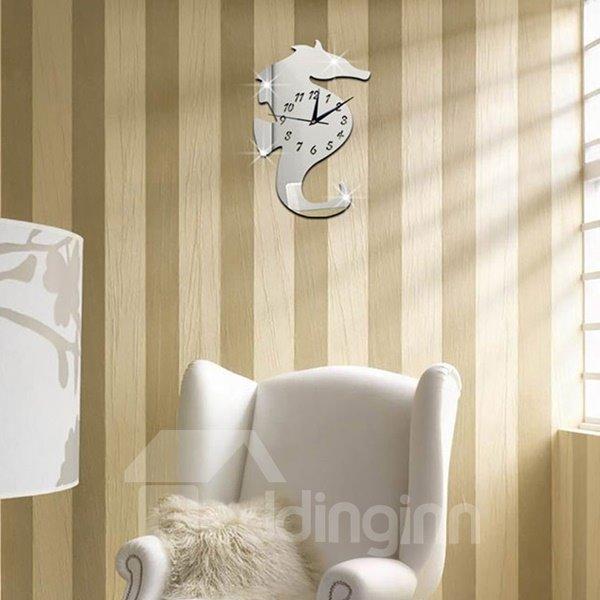 Amazing Decorative Acrylic 3D DIY Hippocampus Pattern Room Silent Wall Clock