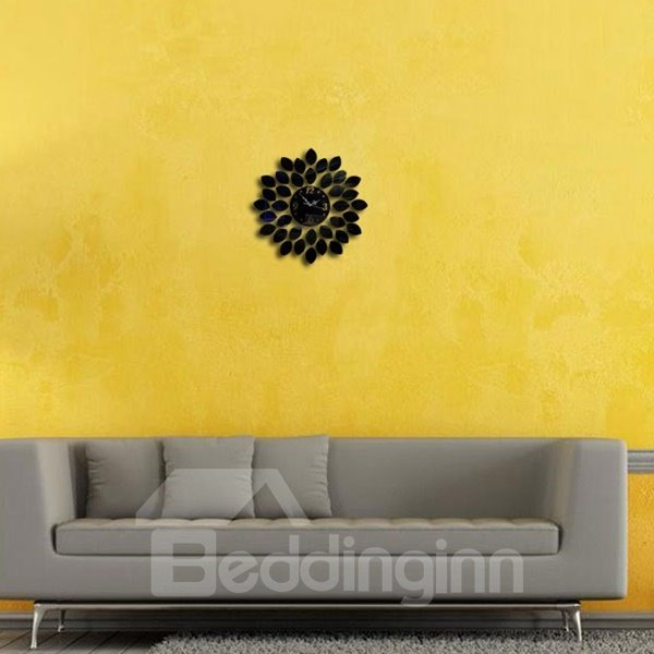 Decorative Acrylic 3D DIY Leaves Design Room Silent Frameless Wall Clock