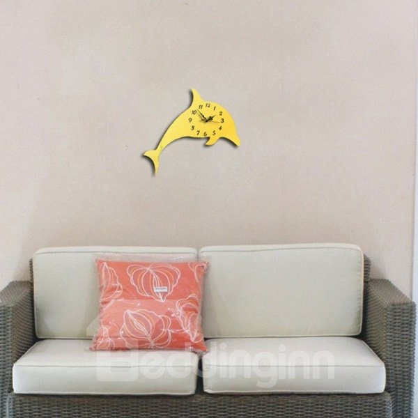 Cute Acrylic 3D DIY Dolphin Pattern Design Room Silent Battery Wall Clock