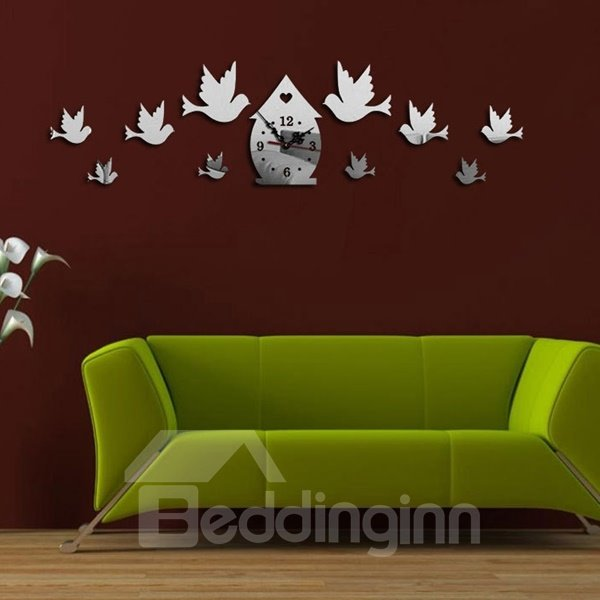 Country Style Acrylic 3D DIY Birds Decoration Design Room Silent Battery Wall Clock
