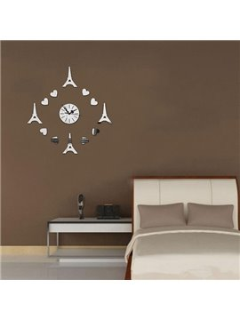 Romantic Heart and Eiffel Tower Decoration Design Room Silent Acrylic Wall Clock