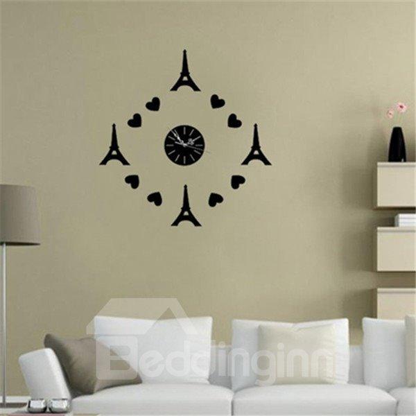 Romantic Heart and Eiffel Tower Decoration Design Room Silent Acrylic Wall Clock