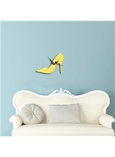 Modern Fashion Acrylic Mirror 3D DIY High-heeled Shoe Design Wall Clock