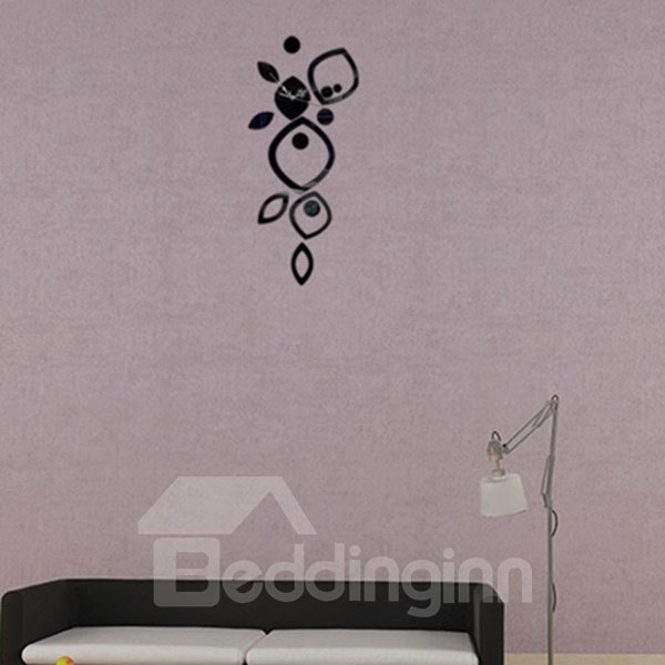 Contemporary Acrylic DIY Flower Pattern Room Silent Decoration Wall Clock