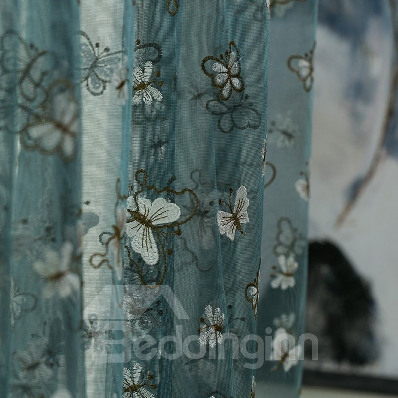 Pretty Embroidery Butterfly Blue Custom Sheer Curtain