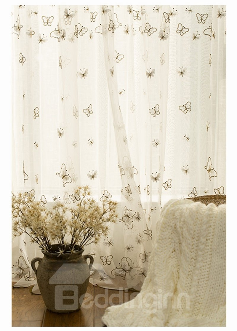 Gorgeous Green Embroidery Butterfly Custom Sheer Curtain