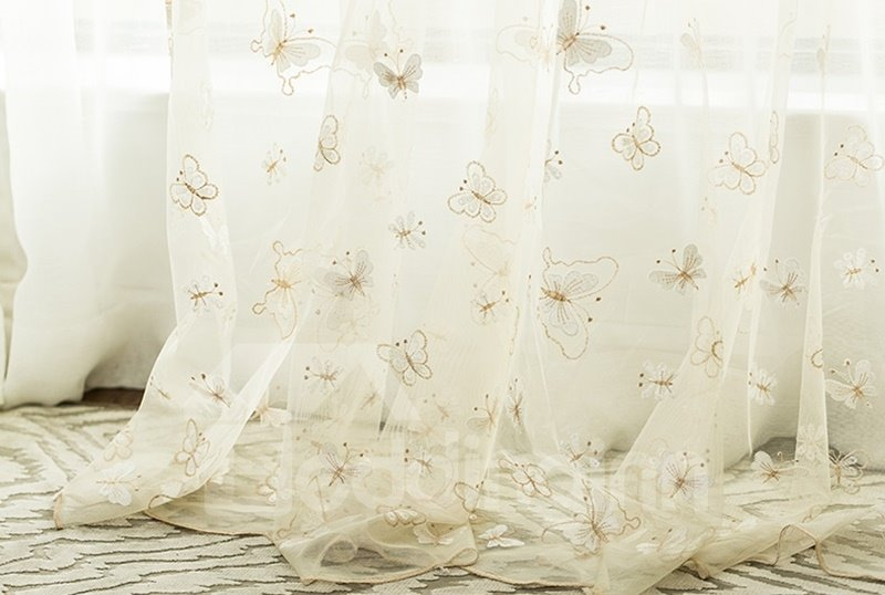Elegant Beige Embroidery Butterfly Custom Sheer Curtain