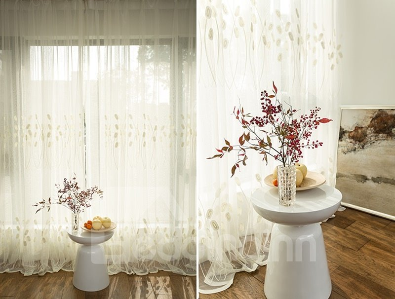 European Style Concise Reed Emboss Embroidery Custom Sheer Curtain