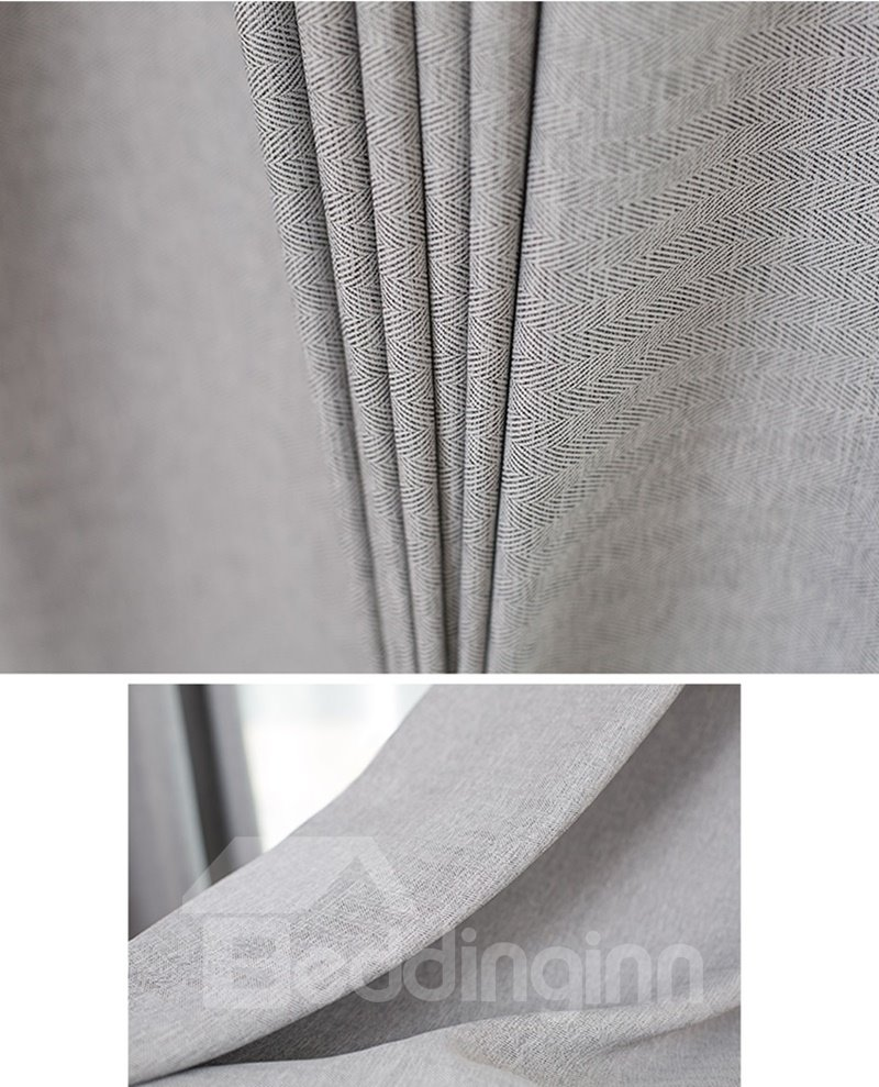 Modern Concise Solid Grey Linen Texture Blackout Custom Curtain & Drapes