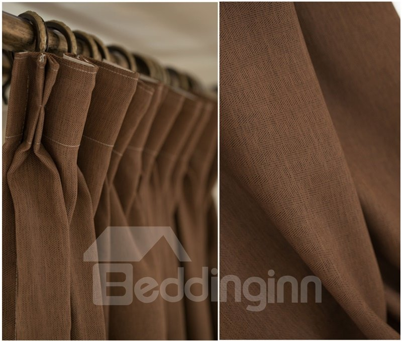 Modern Concise Solid Tan Linen Texture Blackout Custom Curtain & Drapes