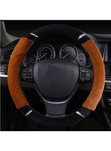 Contrast Color Style Design Comfortable Warm Plush Universal Car Steering Wheel Cover