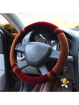 Contrast Color Effect Fashion Plush Material Universal Car Steering Wheel Cover