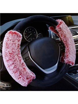 Contrast Color Thick Plush Comfortable Universal Car Steering Wheel Cover