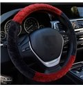Fashion Contrast Color Design Warm Plush Material Car Steering Wheel Cover
