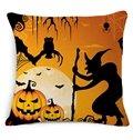 Unique Halloween Pumpkin Print Cotton Throw Pillow Case
