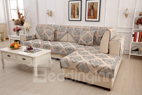 European Style Blue Simple Chenille Flower Print Four Seasons Home Decorative Sofa Covers