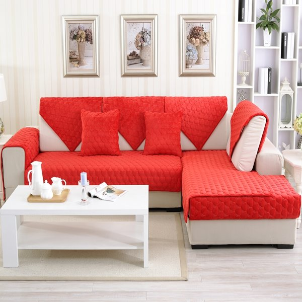 Double Sided Sofa red double-sided quilting heart shaped cushion slip resistant sofa