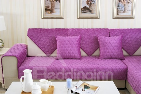 Purple Double-sided Quilting Heart Shaped Cushion Slip Resistant Sofa Covers