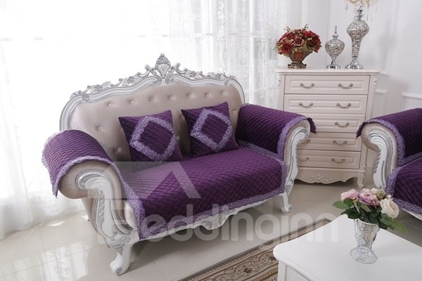 Purple Plush Thicken Heating Quilting Cushion Slip Resistant Sofa Covers