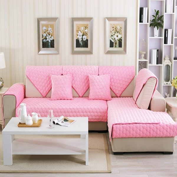 Double Sided Sofa pink double-sided quilting heart shaped cushion slip resistant
