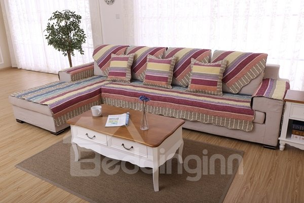 Double-sided Colorful Strips Print Cushion Slip Resistant Sofa Covers