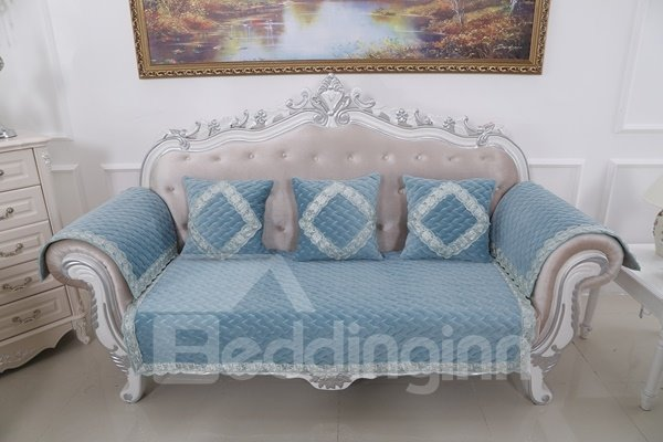 Classical Blue Velvet Embroidery Design Cushion Slip Resistant Sofa Covers