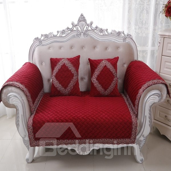 Classical Red Velvet Embroidery Design Cushion Slip Resistant Sofa Covers
