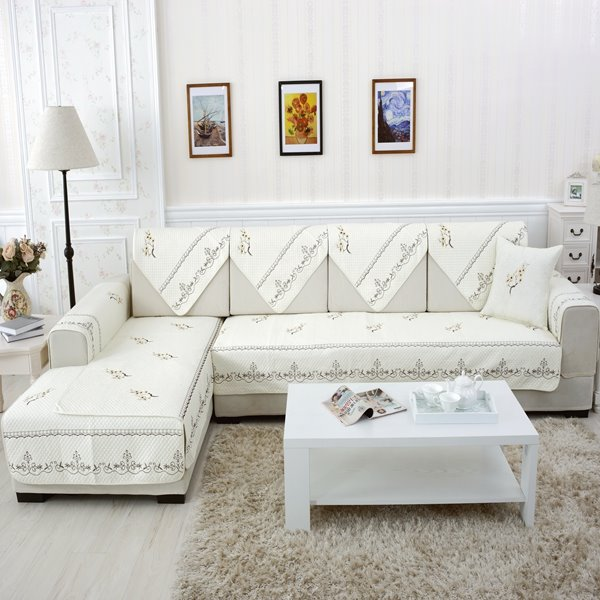 White Elegant Home Decorative Flower Print Cushion Slip Resistant Sofa Covers