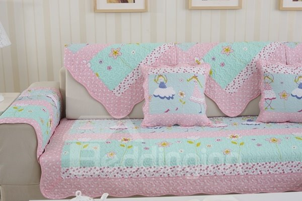 Soft Lovely Pink and Blue Beautiful Girl Print Cushion Slip Resistant Sofa Covers