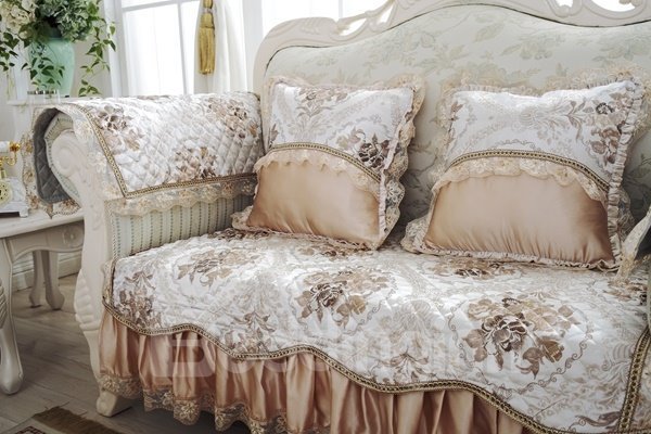 Non-slip Golden European Style Flower Prints With Lace Home Decorative Sofa Covers