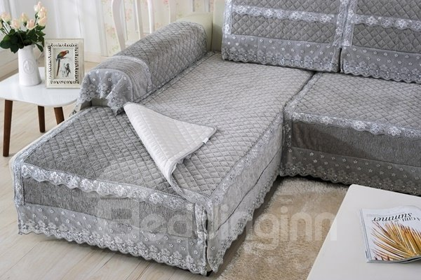 Grey Plush Thicken Heating Quilting Cushion Slip Resistant Sofa Covers