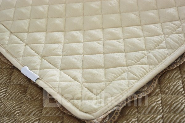 Beige Plush Thicken Heating Quilting Cushion Slip Resistant Sofa Covers