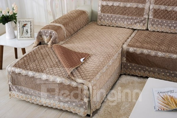 Brown Plush Thicken Heating Quilting Cushion Slip Resistant Sofa Covers