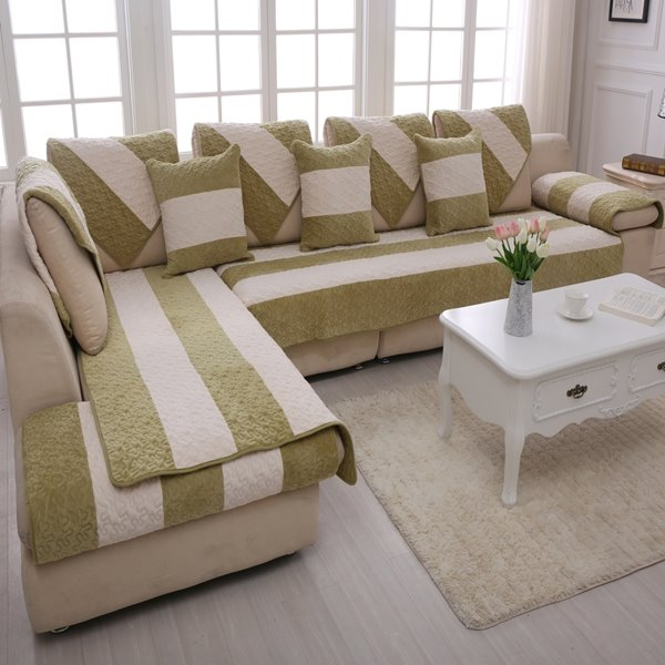 Green and White Strips Print Thicken Four Seasons Cushion Sofa Covers