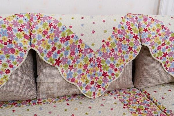 Colorful Polyester Fiber Flowers Print Slip Resistant Decorative Sofa Covers
