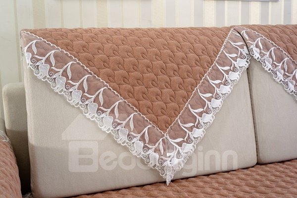 Brown Practical Quilting Cushion with Lace Slip Resistant Soft Sofa Covers