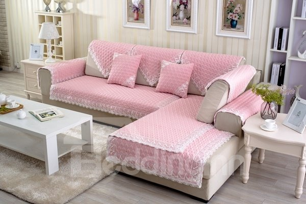 Pink Four Seasons Quilting Cushion with Lace Slip Resistant Soft Sofa Covers