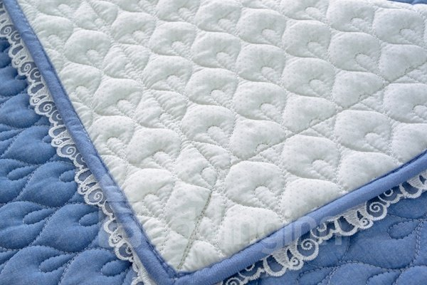 Practical Blue Quilting Cushion with Lace Slip Resistant Soft Sofa Covers