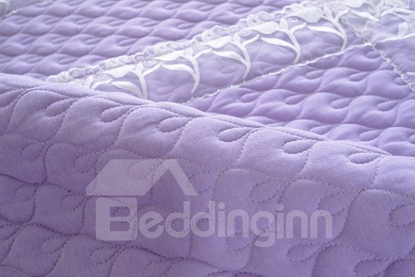 Practical Purple Quilting Cushion with Lace Slip Resistant Soft Sofa Covers