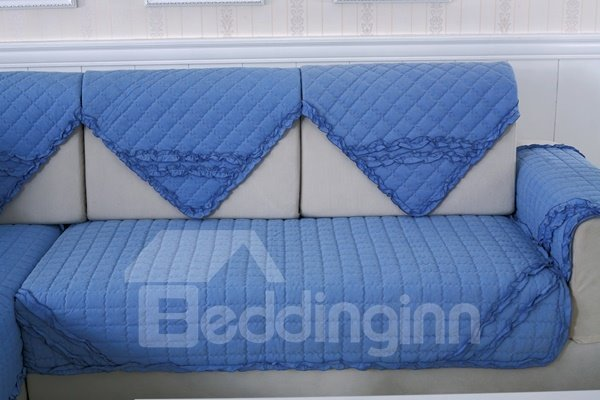 Blue Comfortable Cotton Quilting Cushion with Lace Slip Resistant Sofa Covers