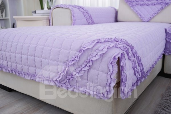 Showy Decorative Purple Quilting Cushion with Lace Slip Resistant Sofa Covers