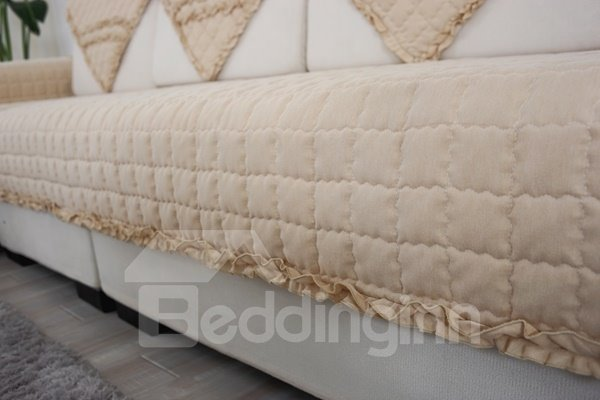 Comfortable Cotton Beige Quilting Cushion with Lace Slip Resistant Sofa Covers