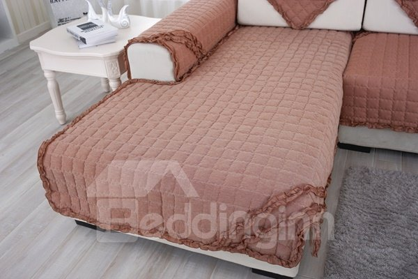 Creative Cotton Brown Quilting Cushion with Lace Slip Resistant Sofa Covers
