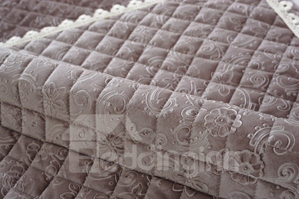 Grey Plaid and Flower Print Polyester Slip Resistant Sofa Covers