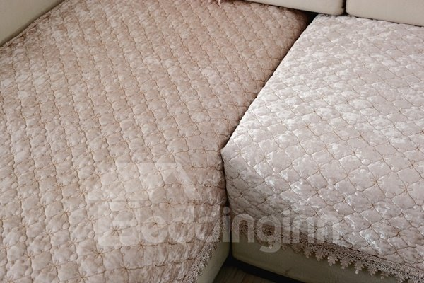 Warm Beige Plush Thicken Pleuche Design Slip Resistant Sofa Covers