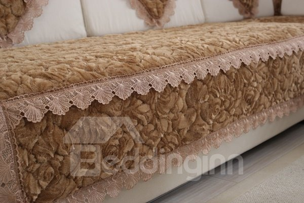 Delicate Brown Thicken Beautiful Roses Flannel Print Design Cushion Slip Resistant Sofa Covers