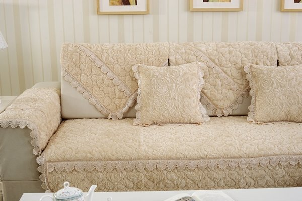 Beige 3D Roses with Laces Polyester Slip Resistant Sofa Covers