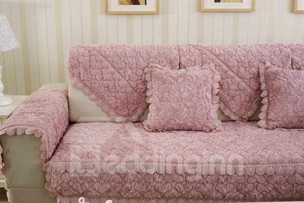 Luxury Pink Thicken Beautiful Roses Flannel Print Design Cushion Slip Resistant Sofa Covers